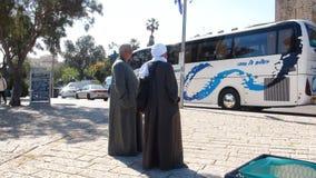 Egyptian pilgrims in the ancient port of Jaffa, Tel Aviv stock images