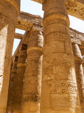 Egyptian pillars. In luxor temple with hieroglyphics Stock Image