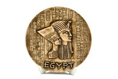 Egyptian plate. Isolated on white background stock photography