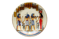 Egyptian plate. Plate with ancient Egypt scene, isolated on white background Stock Photography