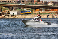 Egyptian police boat Stock Photos