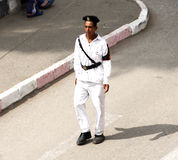 Egyptian police man walking in cairo in egypt  Stock Photography