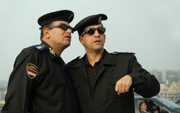 Egyptian Police Officers. You can see two high-ranking police officer from Egypt Royalty Free Stock Photo