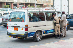 Egyptian Police Officers check vehicle Royalty Free Stock Photos