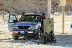 Egyptian Police Officers stand on mobile post Stock Photography