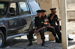 Egyptian Police Officers stand on mobile post Stock Photos