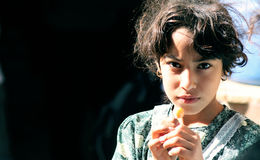 Poor girl in egypt Stock Image
