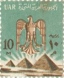Egyptian postage stamp. Old egyptian postage stamp with pyramids royalty free stock photos