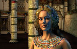 Egyptian Princess. 3D render of an Egyptian Princess standing in an ornate chamber Royalty Free Stock Photo
