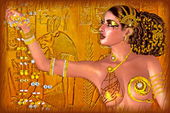 Egyptian Princess Adorned In Gold Jewelry And Gems. Digital Art Fantasy Scene. Royalty Free Stock Image