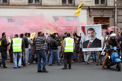 Egyptian Pro-Morsi protesters take part in a demonstration on Apr.25, 2014 in Paris, France. Stock Photo