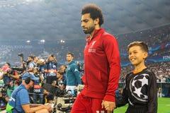 Egyptian professional footballer Mohamed Salah. KYIV, UKRAINE – 26 MAY, 2018: Egyptian professional footballer Mohamed Salah during the final match UEFA royalty free stock image
