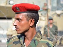 Egyptian protest; the army guarding facilities stock photos
