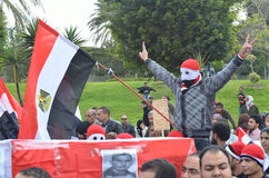 Egyptian protestor flash victory sign Royalty Free Stock Photo