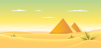 Egyptian Pyramid. Illustration of egyptian pyramids inside desert landscape Royalty Free Stock Photos