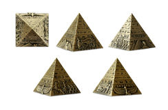 Egyptian pyramid. Five executions of a souvenir pyramid: 4 sides and a shot from above Royalty Free Stock Photo