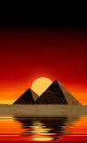 Egyptian pyramids. At sunset. Panorama Stock Photography