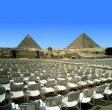 Egyptian pyramids. And chairs, Cairo Royalty Free Stock Photos