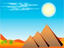 Egyptian pyramids. Desert with Egyptian pyramids at day Stock Photo