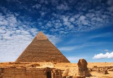 Egyptian pyramids. Ancient egyptian pyramids and Sphinxe Stock Photos
