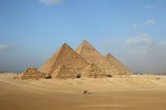 Egyptian pyramids. Egyptian giza three pyramids panorama Royalty Free Stock Photos