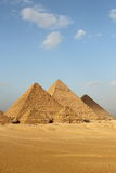 Egyptian pyramids. Egyptian giza three pyramids panorama Stock Image