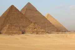 Egyptian pyramids. Egyptian giza three pyramids - landmark Royalty Free Stock Images