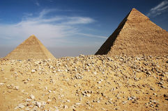 Egyptian pyramids. Egypt. Cairo, El-Ghiza. Desert stones and the pyramids. March 2006 Stock Image