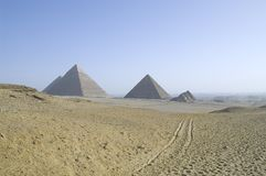 Egyptian pyramids. Great Egyptian pyramids of Khufu, Khafre, and Menkaure stock images