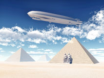 Egyptian Pyramids and Airship Royalty Free Stock Image