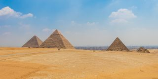 Egyptian pyramids with a beautiful sky at Giza. In Cairo stock photos