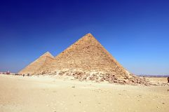 Egyptian pyramids in desert Stock Photos
