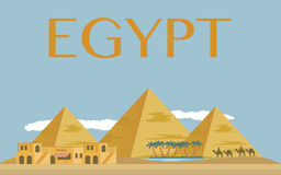 Egyptian pyramids in desert. Egyptian pyramids banner in desert with blue sky Stock Photos