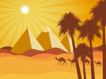 Egyptian pyramids in the desert. Camels in the desert. Vector background. Stock Image