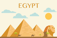 Egyptian pyramids in desert. Concept of Egyptian pyramids in desert vector Royalty Free Stock Photos
