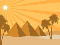 Egyptian pyramids in the desert. Sun rays and palms. Ancient Egypt. Vector. Illustration Royalty Free Stock Photography