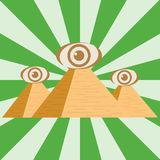 Egyptian pyramids with an eye. Three Egyptian pyramids stock illustration