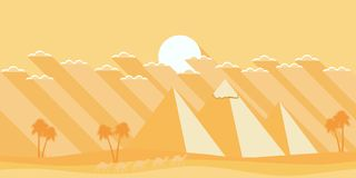 Egyptian pyramids in a flat style. Deserted landscape. Vector. Illustration stock illustration