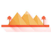 Egyptian pyramids in flat style with long shadows on white background. Royalty Free Stock Photo