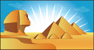Egyptian pyramids at Giza. Landscape with Egyptian pyramids at Giza and the Sphinx illustration in original style royalty free illustration