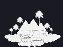 Egyptian pyramids isolated on black background. Egyptian pyramids in the clouds. The symbol of Egypt. Royalty Free Stock Image