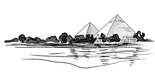 Egyptian Pyramids landscape. Pencil hand drawn  illustration. Royalty Free Stock Image