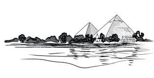 Egyptian Pyramids landscape. Pencil hand drawn  illustration. Royalty Free Stock Image