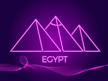Egyptian pyramids of neon. Icon in the style of 80`s. Vector Royalty Free Stock Photo