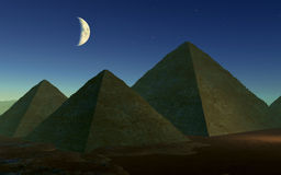 Egyptian Pyramids at Night Stock Images