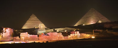 Egyptian Pyramids at night. The Egyptian pyramids night show royalty free stock image
