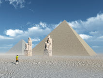 Egyptian Pyramids and Statues Royalty Free Stock Image