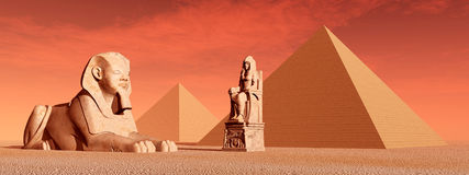 Egyptian Pyramids and Statues Stock Image