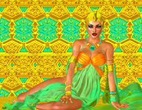 Egyptian queen adorned with gold, green and turquoise, lying down. Stock Photography