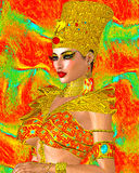 Egyptian queen adorned with gold jewelry and armor. Stock Image